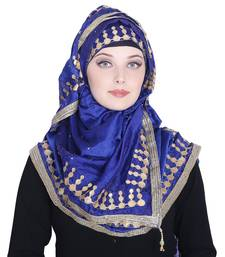 Blue embroidered silk blend hijab