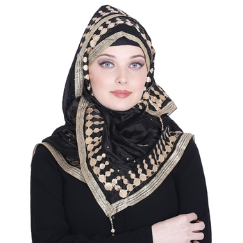 Black embroidered silk blend hijab