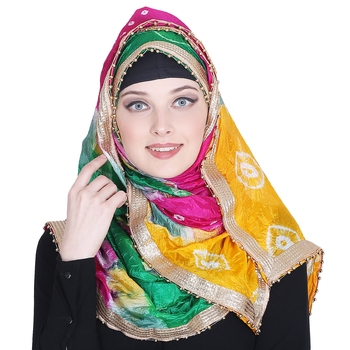 Multicolor printed silk blend hijab