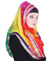 Multicolor printed silk blend hijab