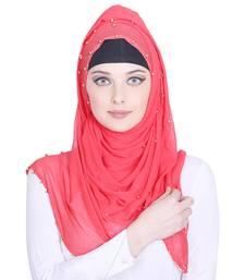Pink plain chiffon hijab