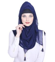 Blue plain chiffon hijab