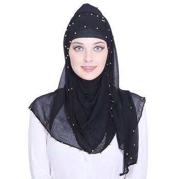 Black plain chiffon hijab