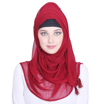 Red plain chiffon hijab