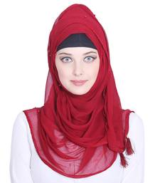 Red plain chiffon hijab