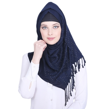 Blue plain viscose hijab