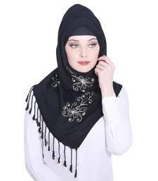 Black embroidered viscose hijab
