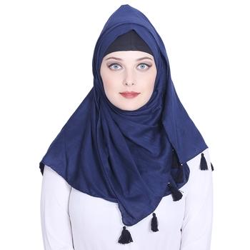 Blue plain viscose hijab