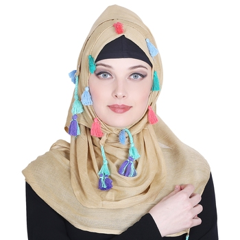 Gold plain viscose hijab