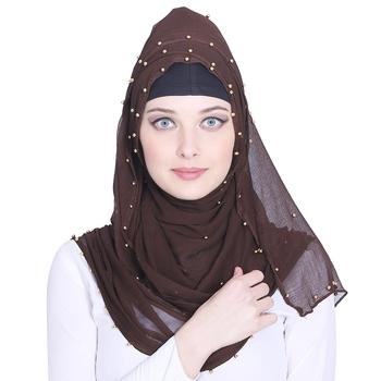 Brown plain chiffon hijab