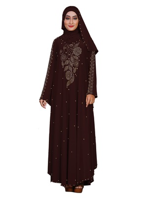 Brown plain lycra burka