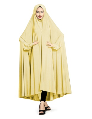 Cream plain lycra burka
