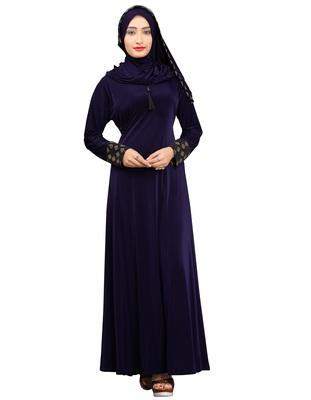 Navy-blue plain lycra burka