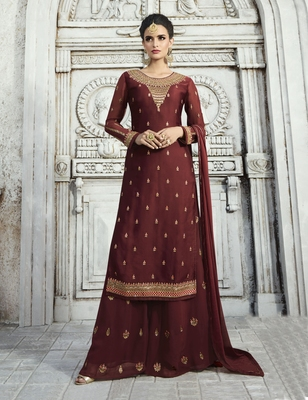 Blood Red Resham Embroidery Georgette Salwar
