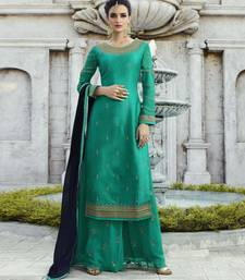 Turquoise resham embroidery georgette salwar