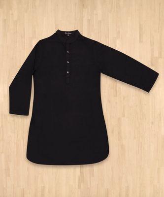 black plain cotton poly boys kurta pyjama