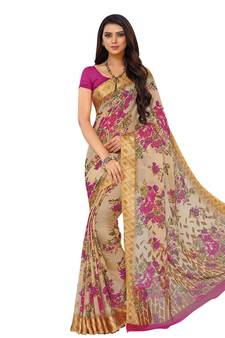 19a6915c1 Beige printed chiffon saree with blouse. Shop Now