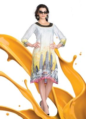 Multicolor Printed Satin Kurti