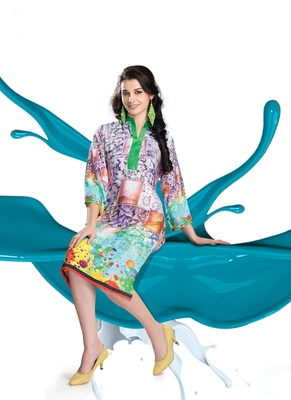 Multicolor Printed Satin Kurti