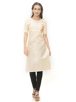 Cream plain cotton kurti