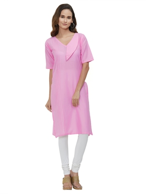Pink Plain Cotton Kurti
