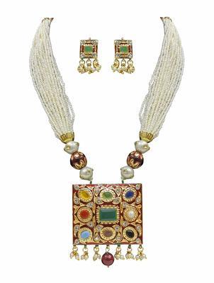 Navratna Jaipuri Jadau Pearl White Mala Necklace Sets
