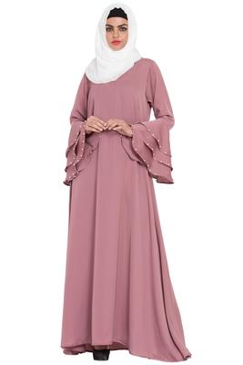 Dusty Pink Plain A-Line Nida Kaftan Abaya With Hijab