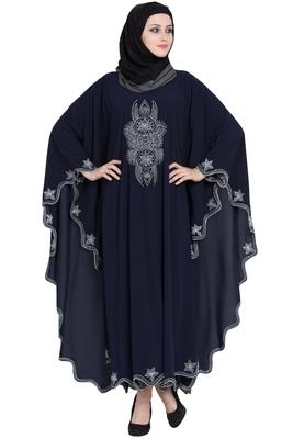 Blue Embroidered Irani Style Kaftan Crepe Solid Abaya With Hijab