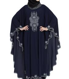 Blue Embroidered Irani Style Kaftan Crepe Solid Abaya With Hijab