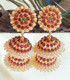 Beautiful Kemp Green Pearl Designer Jhumka