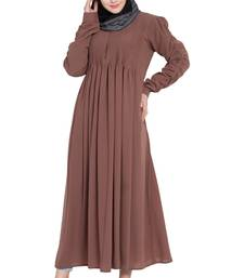 Rose Gold Crepe Solid Abaya With Hijab