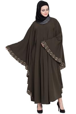 Olive Green Kashiboo Embroidered Kaftan Abaya With Hijab