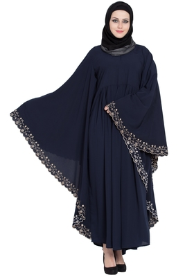 Navy Blue Embroidered Kaftan Kashiboo Solid Abaya With Hijab