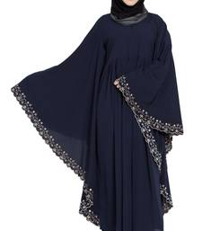 Navy Blue Embroidered Kaftan Kashiboo Solid Abaya With Hijab