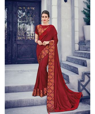 maroon embroidered silk blend saree with blouse