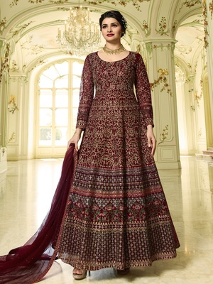 Maroon Embroidered Heavy Anarkali Suit With Dupatta