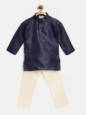 Blue Plain Jacquard Boys Kurta Pyjama