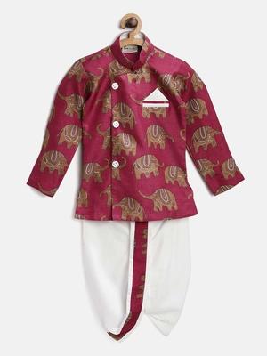 Pink printed art silk boys-dhoti-kurta