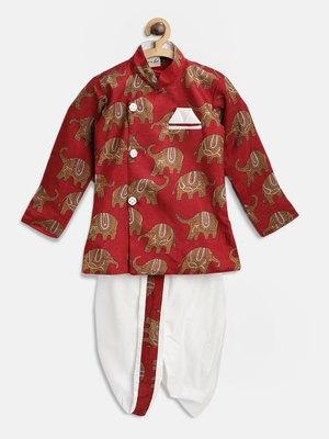 Red printed art silk boys-dhoti-kurta
