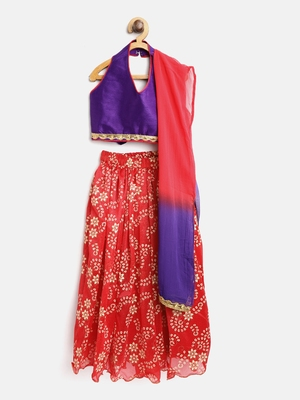 Red Printed Net Stitched Lehenga