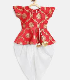 Red Woven Art Silk Top With Dhoti For Girls