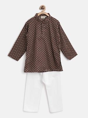 Brown printed cotton boys-kurta-pyjama
