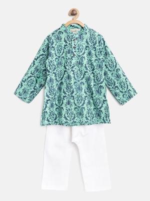 Green printed cotton boys-kurta-pyjama