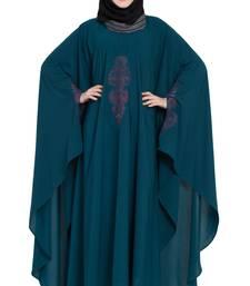 Rama Green Crepe Embroidered Kaftan Abaya With Hijab