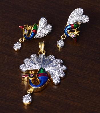 CZ Stone Embellished Meenakari Worked American Diamond Pendant Set
