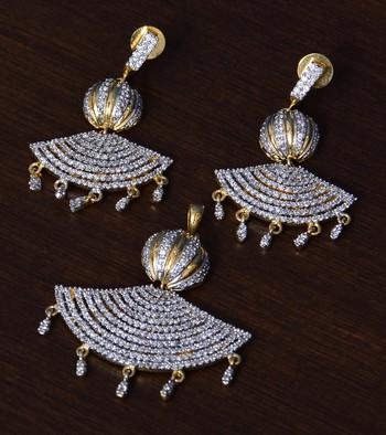 CZ Stone Embellished Designer American Diamond Pendant Set for Women