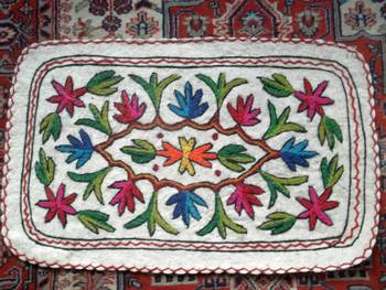 kashmir namdha rug crewal embroidered