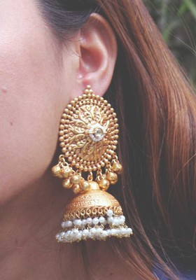 Temple Work And Pearl Jhumka