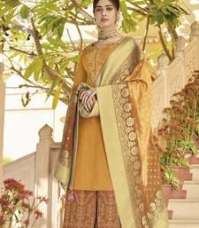 Mustard embroidered silk salwar