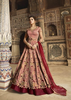 Peach embroidered taffeta salwar